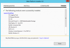 Web Platform Installer - WordPress Installed